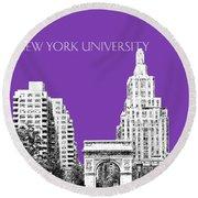 New York University - Washington Square Park - Purple Round Beach Towel