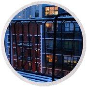 New York Window - Fire Escape In Winter Round Beach Towel