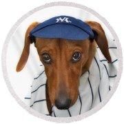 New York Yankee Hotdog Round Beach Towel