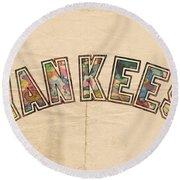 New York Yankees Poster Art Round Beach Towel