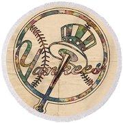 New York Yankees Poster Vintage Round Beach Towel