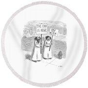 New Yorker May 19th, 1997 Round Beach Towel by Roz Chast