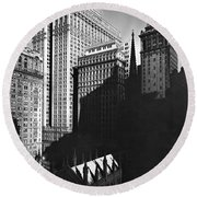 New York's Financial District Round Beach Towel