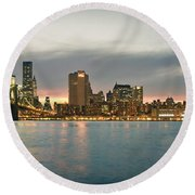 New York City - Brooklyn Bridge To Manhattan Bridge Panorama Round Beach Towel