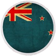 New Zealand Flag Vintage Distressed Finish Round Beach Towel