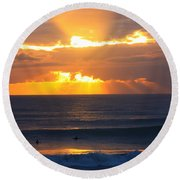 New Zealand Surfing Sunset Round Beach Towel