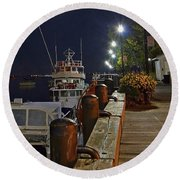 Newburyport Docks Full Moon Round Beach Towel