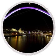 Newcastle Quayside And Sage Gateshead Round Beach Towel