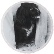 Newfoundland Puppy Round Beach Towel