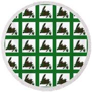 Newfoundland Tartan Map Blocks Green Trim Round Beach Towel