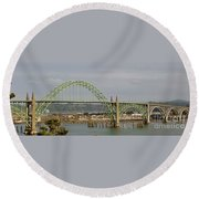 Newport Bay Bridge Round Beach Towel