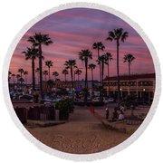 Newport Beach Sunset Round Beach Towel