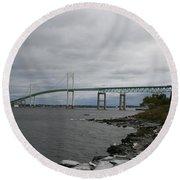Newport Bridge  -  Rhode Island Round Beach Towel