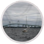 Newport Bridge With Newport Harbor Light Round Beach Towel