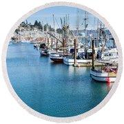 Newport Fishing Fleet  Round Beach Towel
