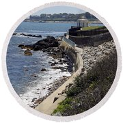 Newport's Cliff Walk View Round Beach Towel
