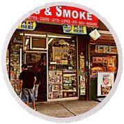 News And Smoke - Play Here Round Beach Towel