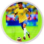 Neymar Soccer Football Art Portrait Painting Round Beach Towel