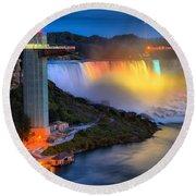 Niagara American Falls At Night Round Beach Towel