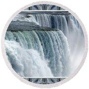 Niagara Falls American Side Closeup With Warp Frame Round Beach Towel