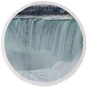 Niagara Falls Canada In Winter Round Beach Towel