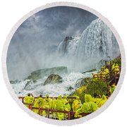 American Falls Niagara Cave Of The Winds Round Beach Towel