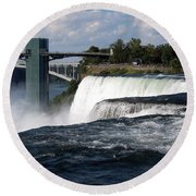 Niagara Falls Closeup And Observation Tower Round Beach Towel