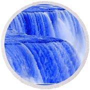 Niagara Falls Closeup In Blue Round Beach Towel