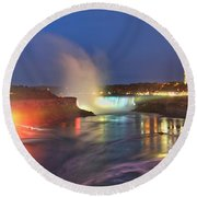 Niagara Falls Night Lights Panorama Round Beach Towel