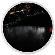 Niagara Falls Nightly Illumination Aerial View Round Beach Towel