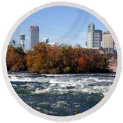 Niagara Falls Skyline From New York Round Beach Towel