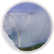 Niagara Falls With Winter Rainbow Round Beach Towel