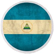 Nicaragua Flag Vintage Distressed Finish Round Beach Towel