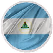 Nicaraguan Flag Round Beach Towel by Les Cunliffe
