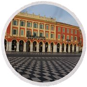 Nice France - The Cheerful Colors Of Place Massena Round Beach Towel