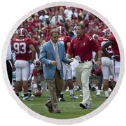 Nick Saban And The Tide Round Beach Towel