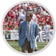 Nick Saban Head Football Coach Of Alabama Round Beach Towel