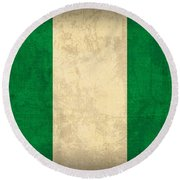 Nigeria Flag Vintage Distressed Finish Round Beach Towel