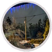 Night After The Ice Storm Round Beach Towel
