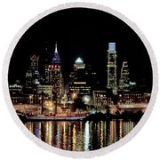 Night At Penn's Landing - Philadelphia Round Beach Towel