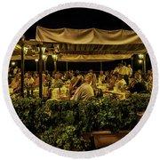 Night At The Cafe - Taormina - Italy Round Beach Towel