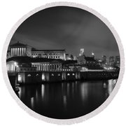 Night At Waterworks In Black And White Round Beach Towel