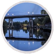 Night Bridge Round Beach Towel