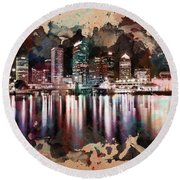 Night City Reflections Watercolor Painting Round Beach Towel