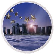Night Cometh Round Beach Towel