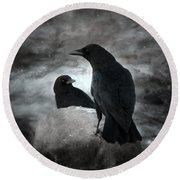 Mysterious Night Crows Round Beach Towel
