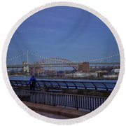 Night Falling Over The East River - Manhattan Round Beach Towel