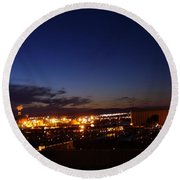 Night Falls At Old Port Of Quebec Round Beach Towel