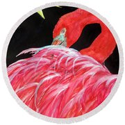 Night Flamingo Round Beach Towel
