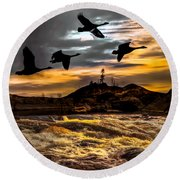 Night Flight Round Beach Towel by Bob Orsillo